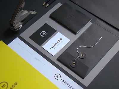 Iamtiago Identity gray black yellow notebook embossing envelope branding letterhead stationary identity iamtiago