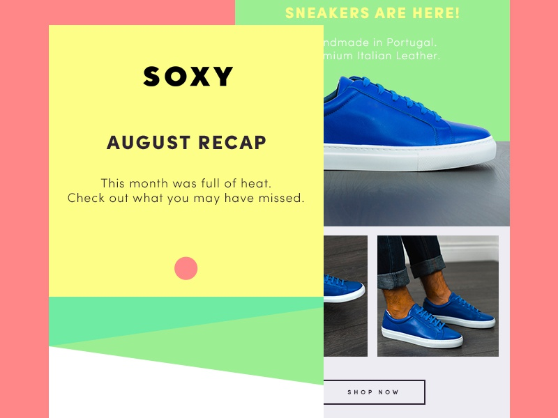 Soxy Newsletter - August 2018 portugal blue sneakers socks bright green red yellow summer soxy newsletter design newsletter