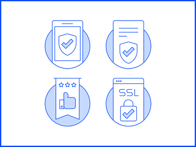 Security Icons hometeam white browser check shield linework security blue icons