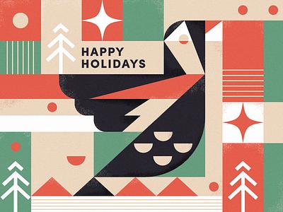Happy Holidays! christmas tree happy star noise texture illustration snow pine holidays green red hanukkah christmas bird
