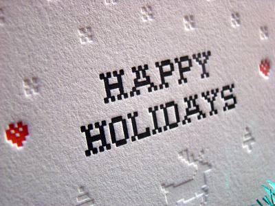 Holidays Card christmas holidays pine tree snow reindeer close-up emboss cotton black letterpress red
