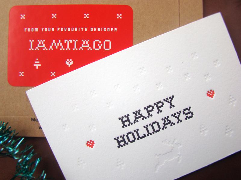 Holidays '19 snow pine tree reindeer white black emboss cards letterpress holidays christmas postcard red