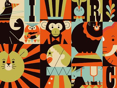 Animal circus elephant donkey bear rabbit monkey lion owl sealion circus animals illustration