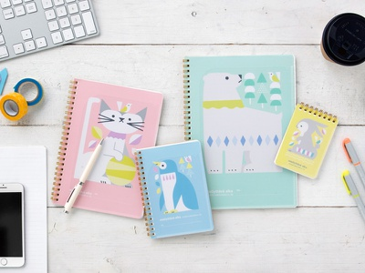 NORDIC COLOR ANIMALS NOTE BOOK rabbit penguin cat bear note stationery animals illustration
