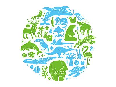 Animal planet earth planet animals illustration