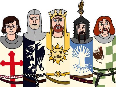 Knights of the Round Table cartoon fan art fanart medieval camelot knights of the round table lancelot king arthur king knight knights holy grail monty python design vector illustration