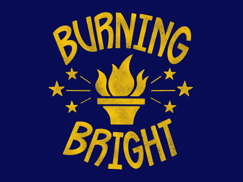 Burning Bright gold blue stars star torch t-shirt lettering design indiana