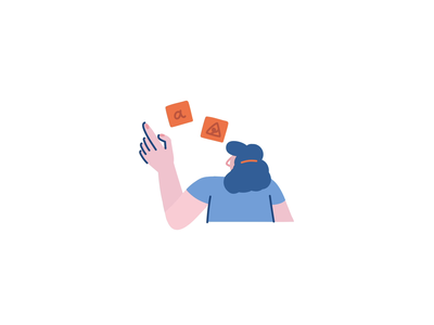 Post it remote work woman girl work 2d lottiefiles free lottie stroke illustration ae motion character after effects loop animation