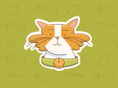 Meme simple smile emoji lottiel cute cat stroke illustration ae motion character after effects loop gif animation