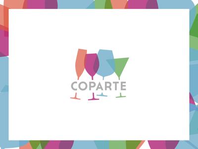 Coparte copa glass coparte arte art logo identity identidad colors brand glasses marca