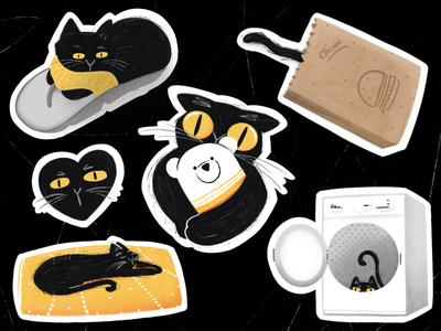 Chimi's stickers character sticker design illustration comic funny cats sticker procreate little cute cat