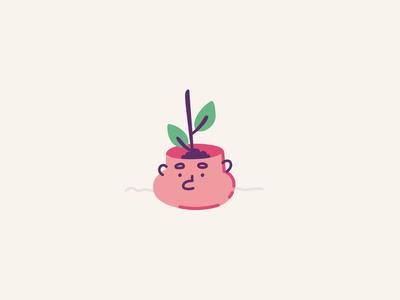 Smart flowerpot - Wink flowerpot cute face plant vector loop icon stroke ae illustration motion character animation