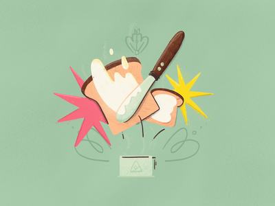 Breakfast time domestika morning cup bread tostada breakfast cafe coffe brush texture illustration procreate