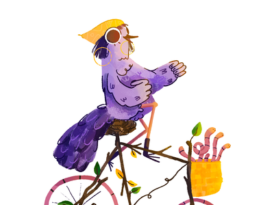 20 bicis nature fly procreate bird color music behance cool cute ride bike collab illustration motion character loop animation