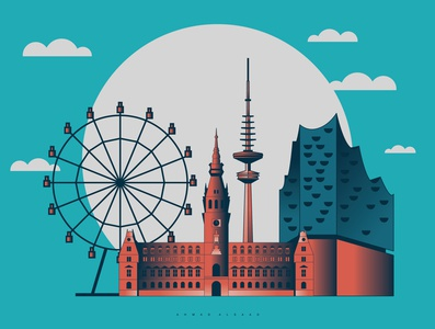 Hamburg landmarks, Germany illustration design illustration art deutschland dribbble cityscape germany hamburg graphicdesign adobe behance landscape vector design illustrator illustration graphic design graphic city landmark