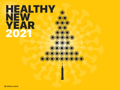 Healthy New Year 2021 graphicdesign poster art poster design new year 2021 healthy concept illustration design behance adobe vector illustrator graphic design graphic covid-19 corona corona virus new year 2021