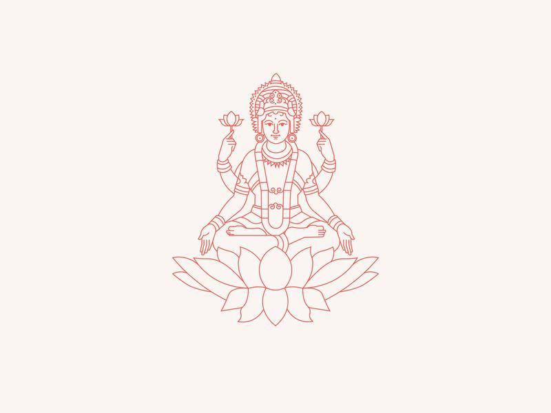 Lakshmi, the Indians goddess of beauty india goddess color outlines illustrator illustration logos design brand identity branding graphic brand design branding design brand illustration behance graphic branding brand and identity brand logo design logodesign logo