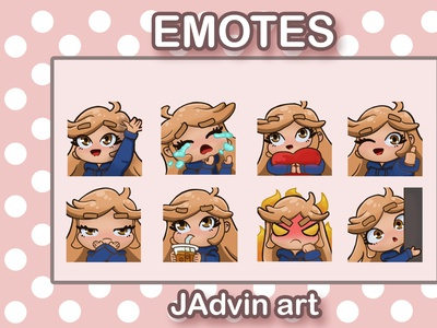 Emotes of Cute girl lurk mad angry milk tea drinking wrong thumbs up sad happy digital product digital art ready made cute girl expressions emotes emotestwitch