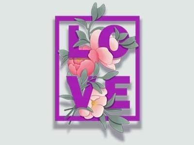 Love flora typogaphy flower plant love