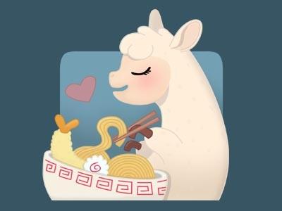 llamen soup noodles eating food animal cute ramen llama