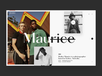 Maurice editorial photography animation webpage webdesign website web ui