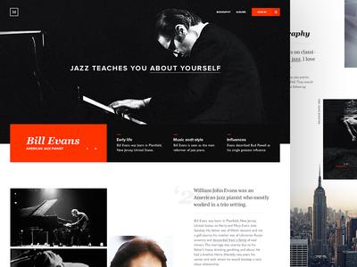 Bill Evans Jazz Pianist musician splashpage jazz pianist billevans ui webdesign web