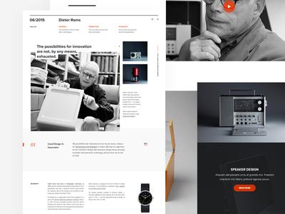 Dieter Rams Landing Page principles webpage splashpage webdesign website web ui rams dieter