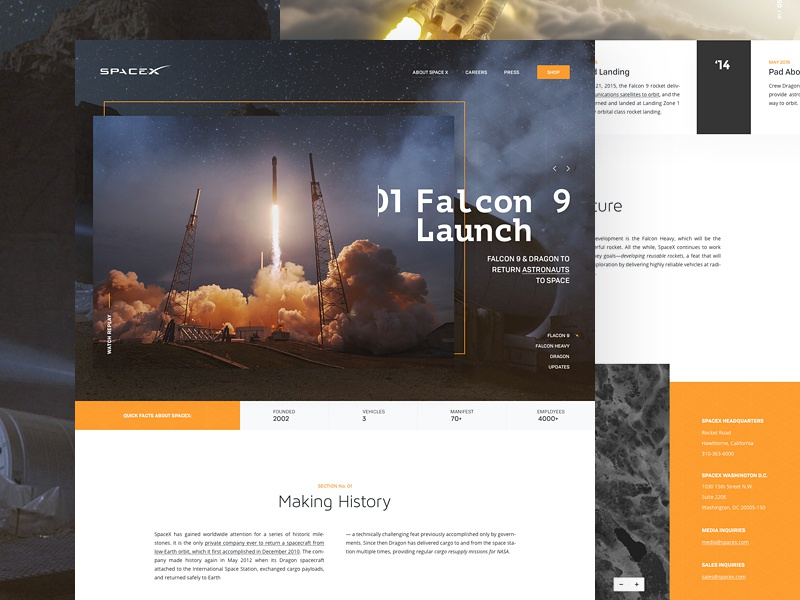 Space X // About Us Page concept website webpage webdesign web ui spacex landing