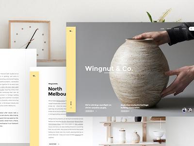 Wingnut & Co. pottery website webpage webdesign web ui landing
