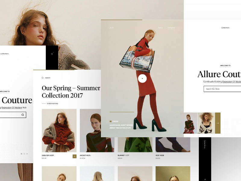 Allure Couture website webpage webdesign web ui simple landing
