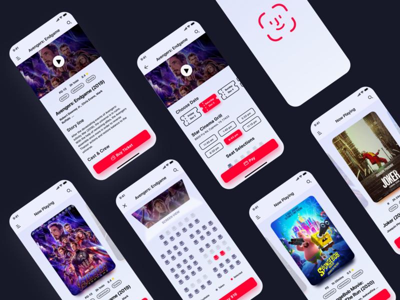 Cinema Ticket Purchasing Mobile Ui 🍿🥤 cinema product design movie ticket mobile app movie app mobile tickets movie interaction uxdesign ux ui