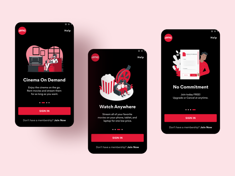 AMC Theaters | Cinema on Demand Onboarding Ui 🍿 streaming app design onboarding amc theaters cineam movies movie android material design android mobile uiux design ux ui