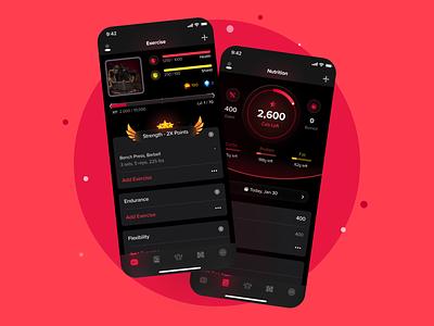 Exertia (MMORPG) Fitness Tracker App app fitness tracker mmorpg fitness ios game mobile design uidesign uxdesign ux ui