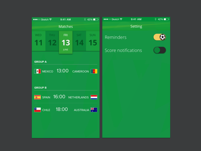 Football matches app ux ui