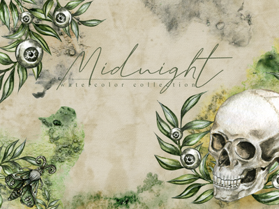 104 Midnight magic Watercolor illustration clipart png