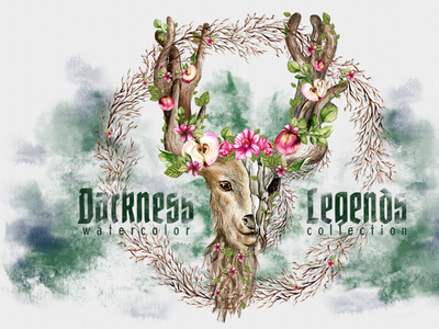 Darkness Legends watercolor illustration clipart png
