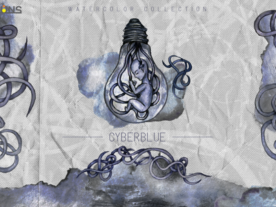 Cyberblue watercolor illustration alien png clipart magic