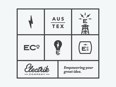 Electrik Co. Brand Buildout branding buildout support elements logo logo mark electric bolt lightning bulb light bulb tower
