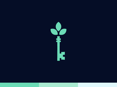 Sprout Realty brand icon mark branding real estate realty skeleton key key plant sprout logo