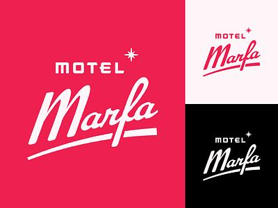 Motel Marfa custom marfa west texas mid-century keychain logo motel script lettering