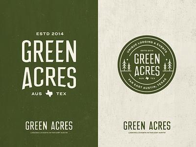Green Acres tree type custom type seal badge glamping texas austin camping typography lettering logo branding lockup