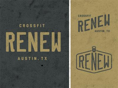 Renew logo custom type renew crossfit steroids needles gym typography kettle bell austin atx run til you puke