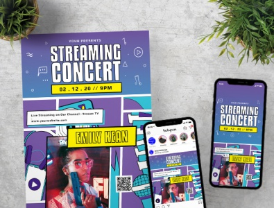 Streaming Concert Flyer Poster Instagram Set Template illustrator show streaming concert music instagram stories instagram post instagram social media typography poster flyer