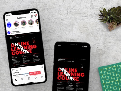 Online Learning Course Instagram Set social media simple seminar school print ready post modern learning instagram flyer easy to use covid 19 course corporate corona conference community college class business
