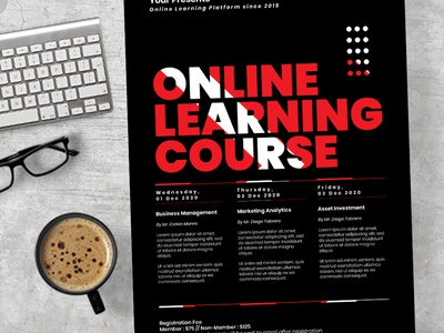 Online Learning Course Flyer social media simple seminar school print ready post modern learning instagram flyer easy to use covid 19 course corporate corona conference community college class business