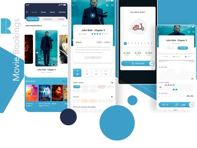 Moviebookings appui mobiledesign adobexd app booking movie ux ui