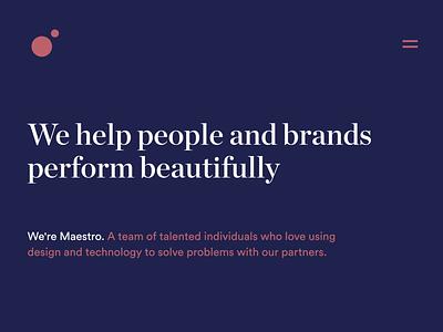 Meet Maestro agency branding design team marketing branding agency website website easter egg interaction css animation web design portfolio agency