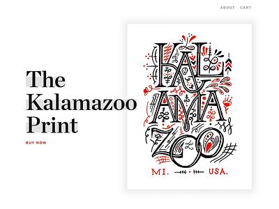 The Kalamazoo Print collaboration design website animation shopify ecommerce vector screenprint illustration