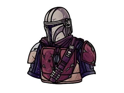The Mandalorian dusan klepic illustraion warrior force helmet mercenary star wars mandalorian