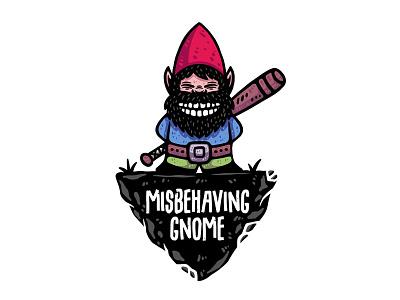 Misbehaving Gnome dusan klepic design illustration vintage logo funny evil smile garden baseball bat dwarf gnome